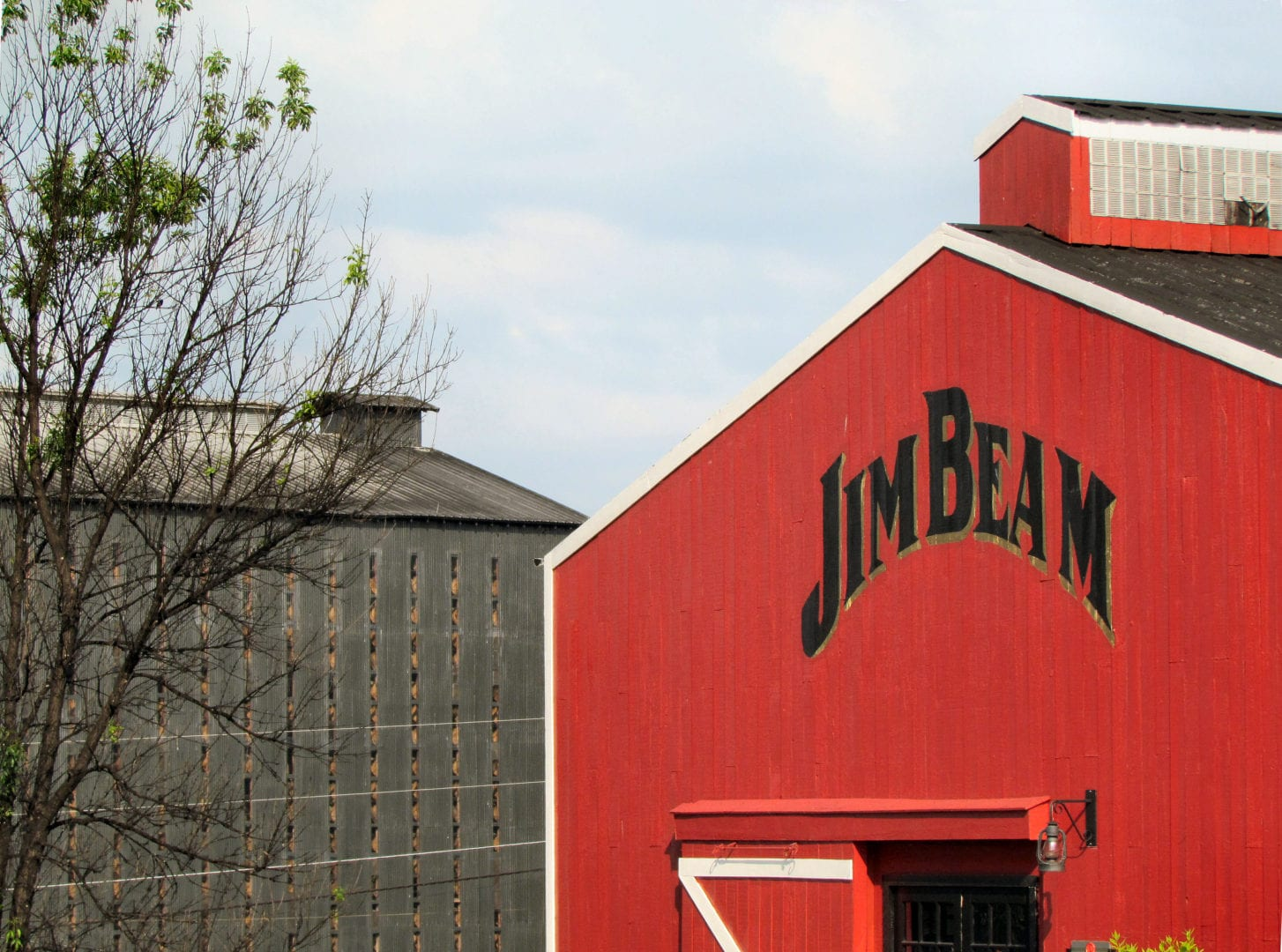 A red Jim Beam warehouse