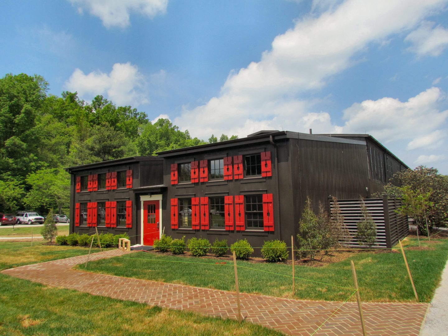 A black house with red designs