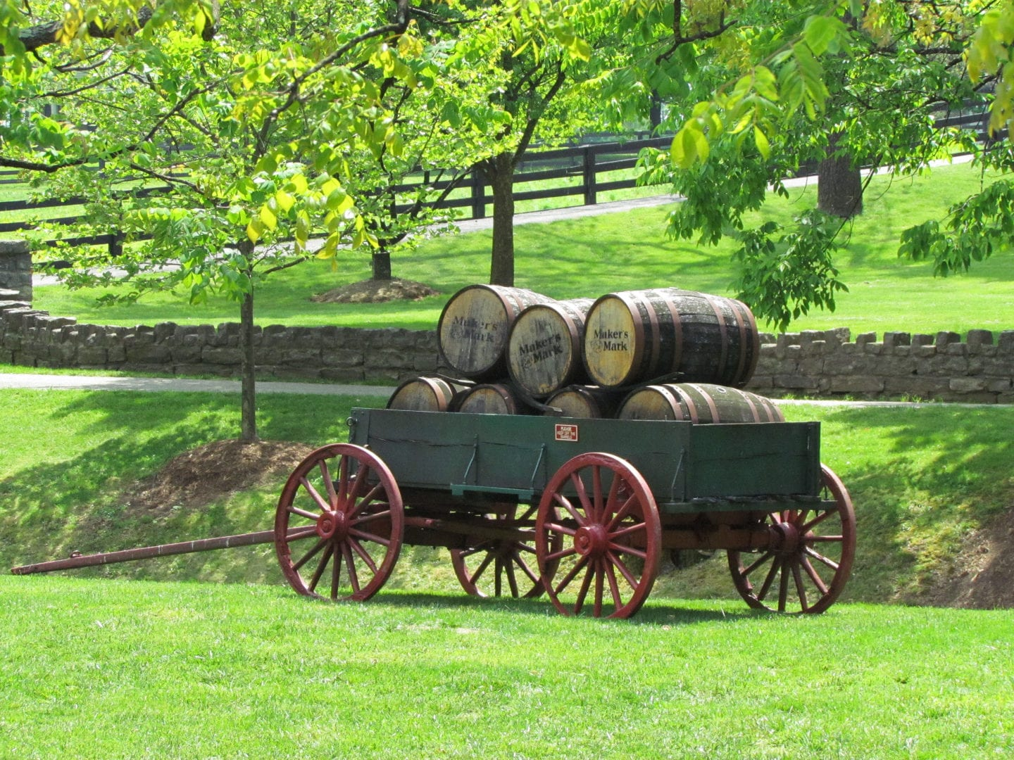 A cart full of barrels from the distillery