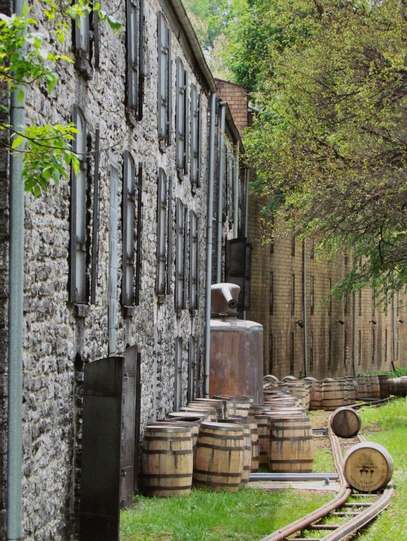 Barrels outside the distillery