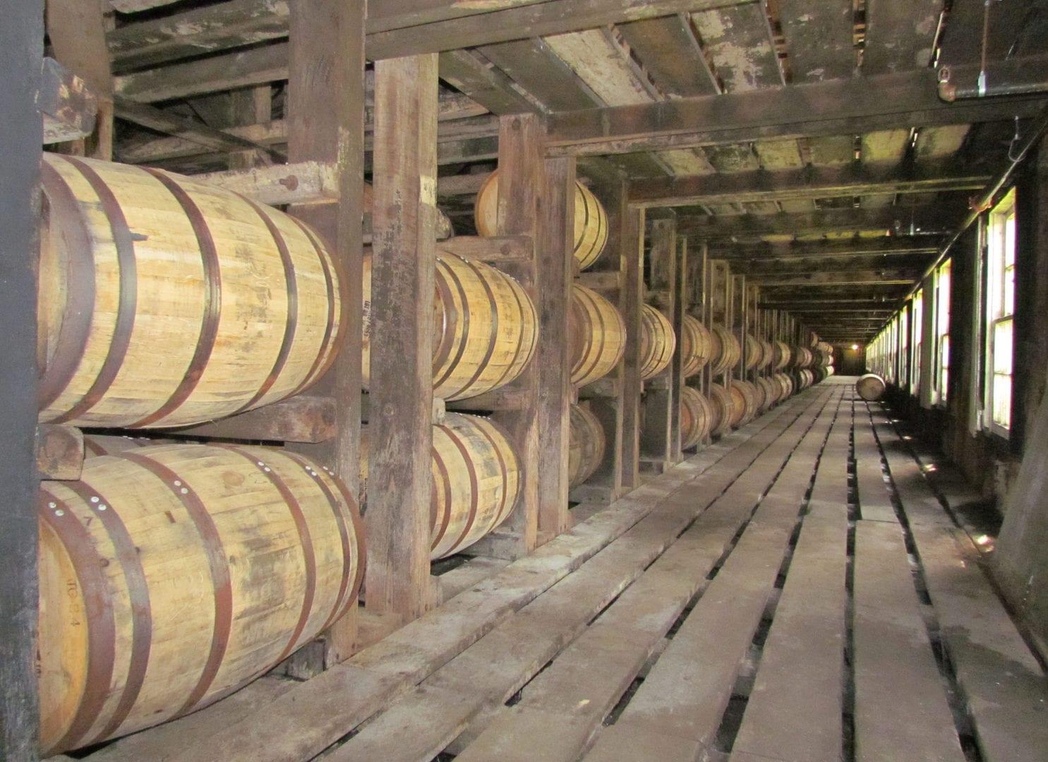 Barrels of wine at the Wild Turkey Rickhouse