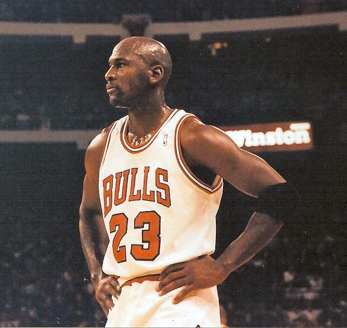 A body shot of Michael Jordan during the game