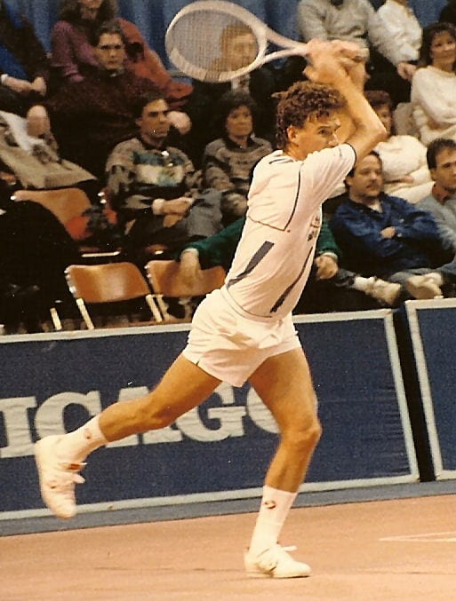 Jimmy Conners doing a forehand follow through