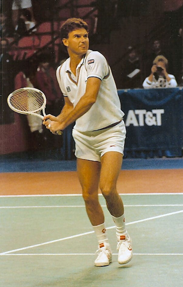 Jimmy Connors about to hit a ball
