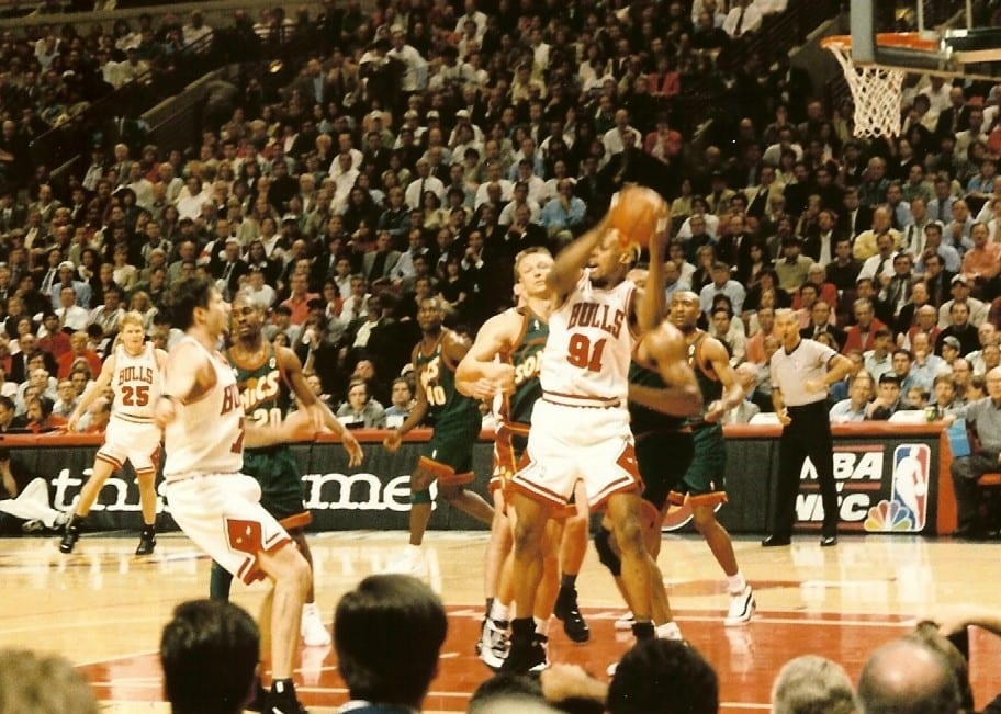 Game 1 1996 NBA Finals Bulls dennis Rodman rebound vs. Seattle SuperSonics @ The United Center.