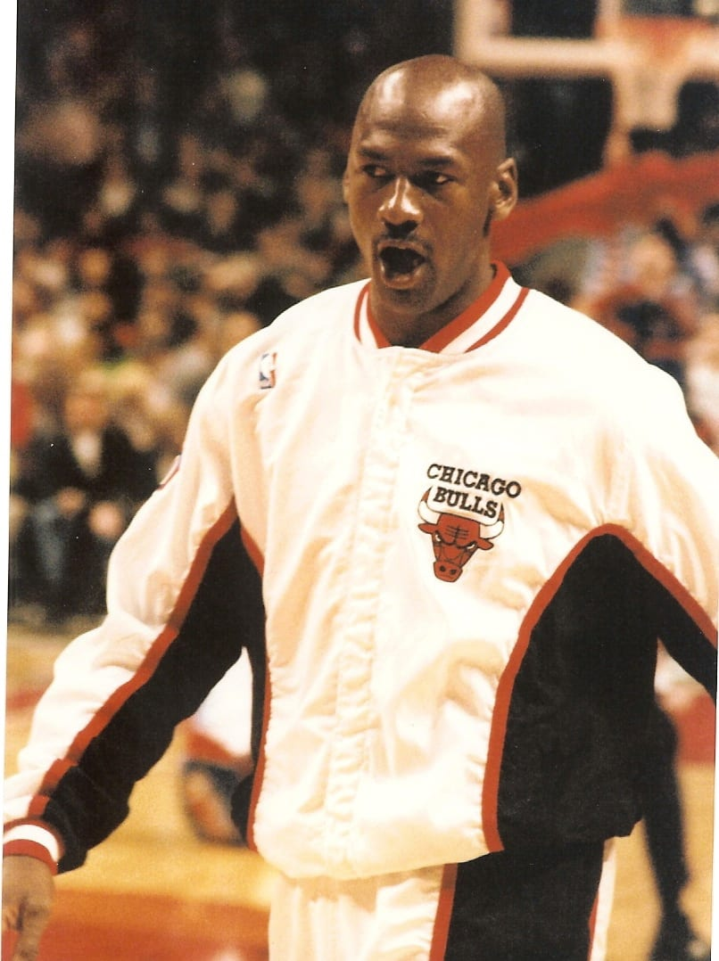 MJ doing a warm up before a game