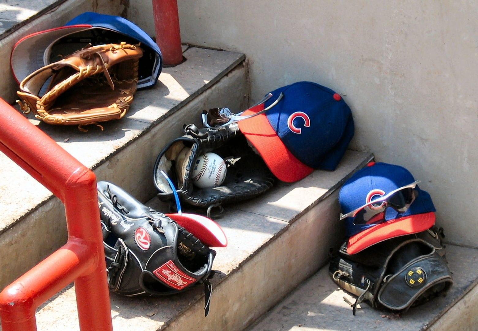 Baseball gear alon the stairs
