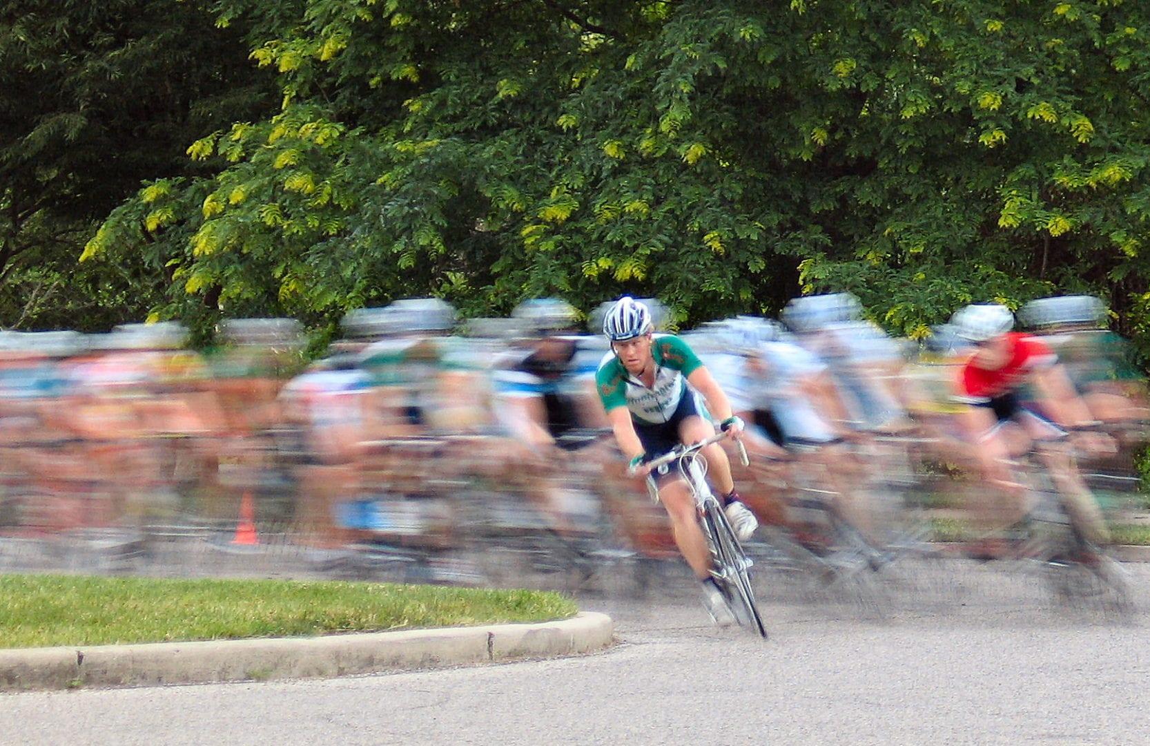 A focus on a single cyclist
