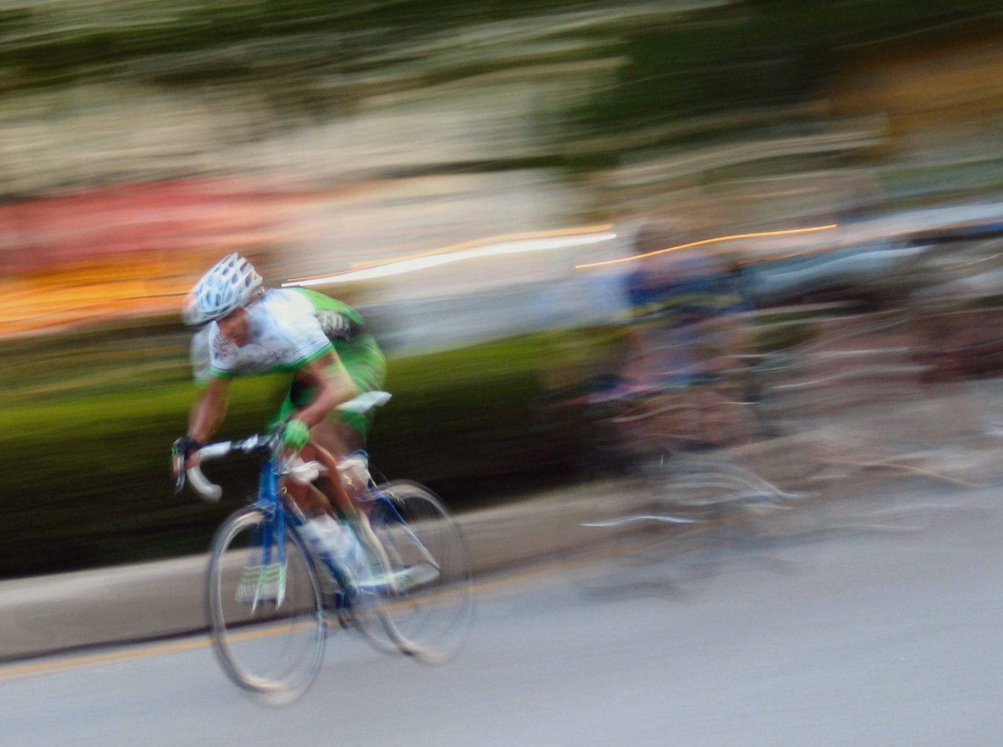 Cyclists moving in speed