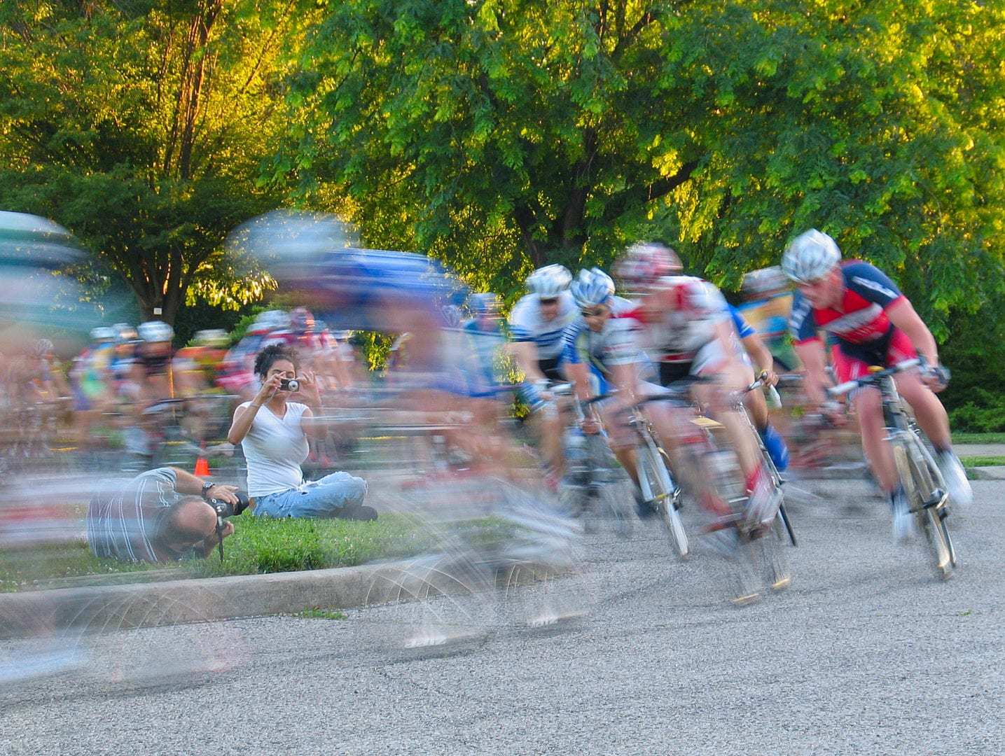 A timelapse blur of cyclists