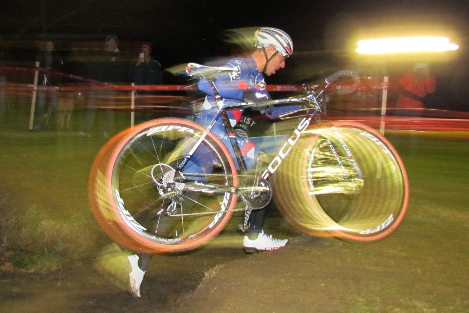 A blurry cyclist