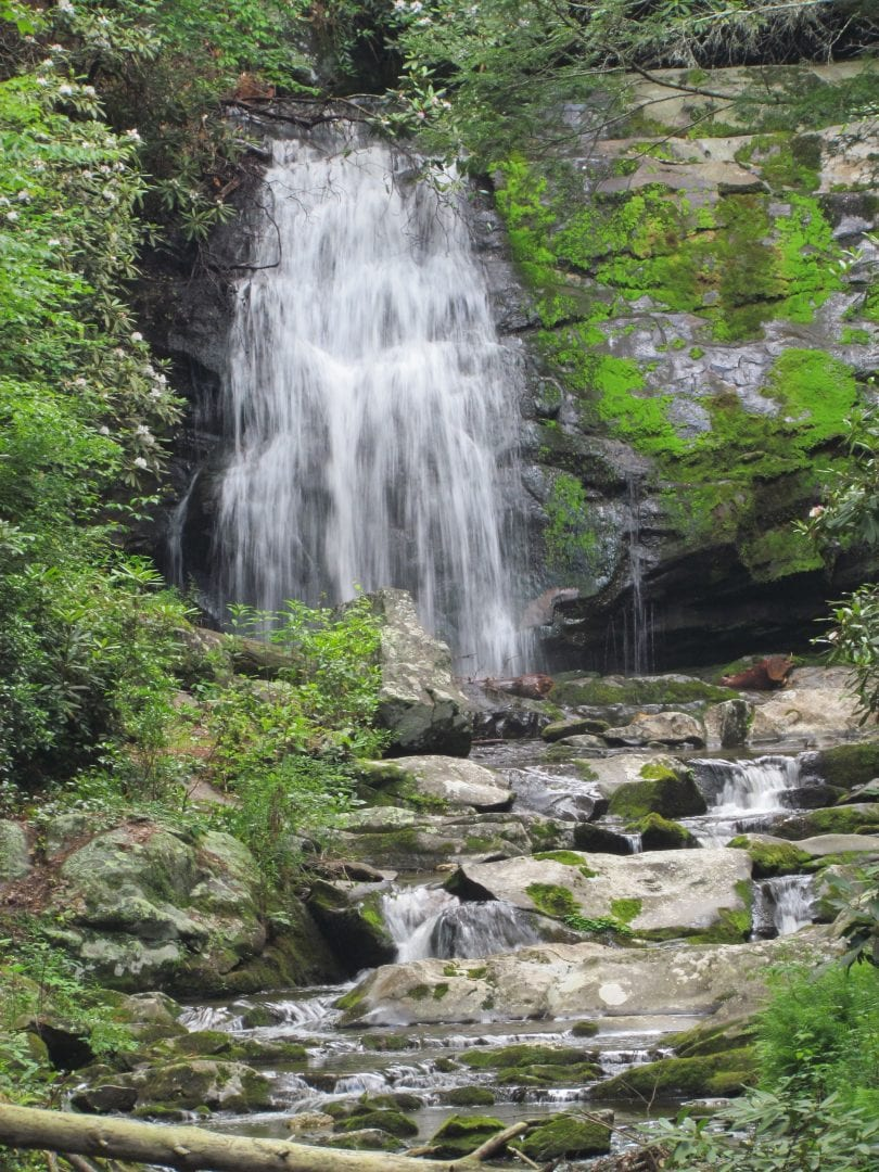 A waterfall flowing down to a stream