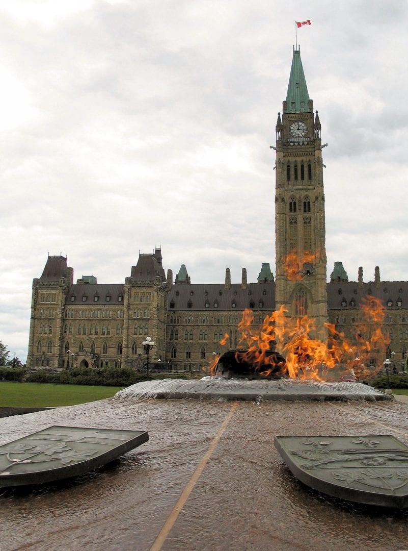 A fountain on fire