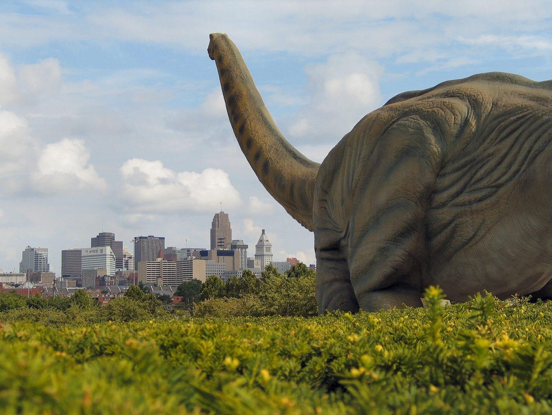 A life-sized model of a dinosaur