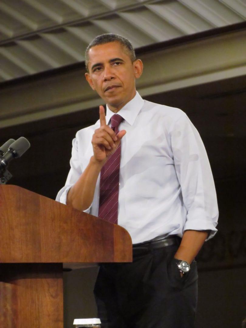 An image of Barrack Obama on podium