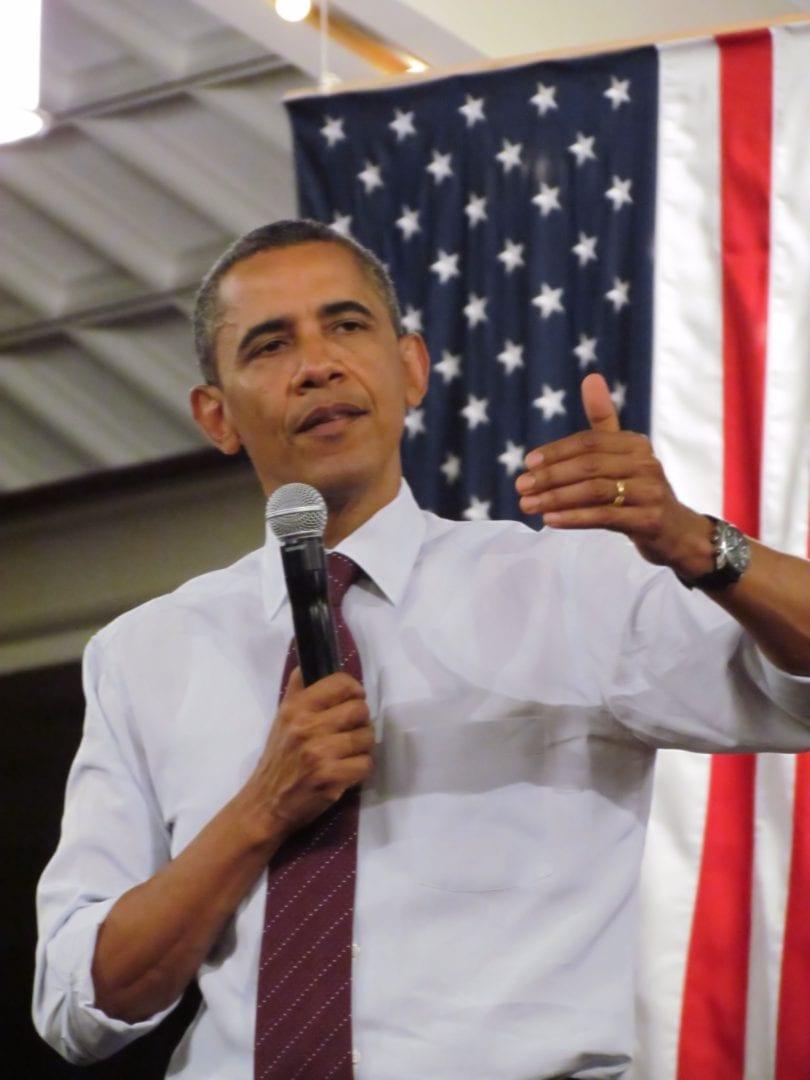 Barrack Obama making a speech
