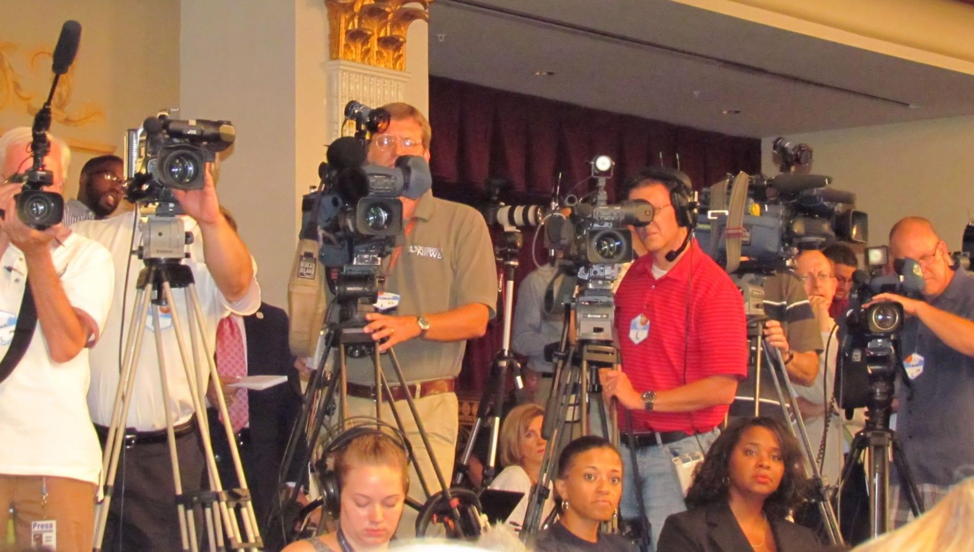 Media reporters and cameramen
