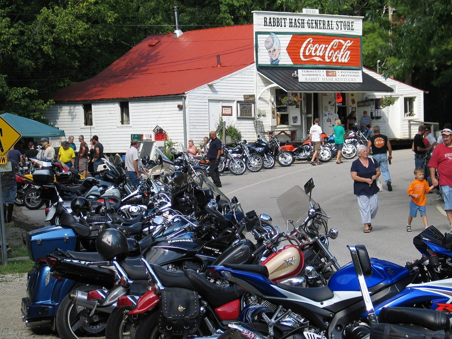 Motorbikes parked near the Rabbit Hash General Store