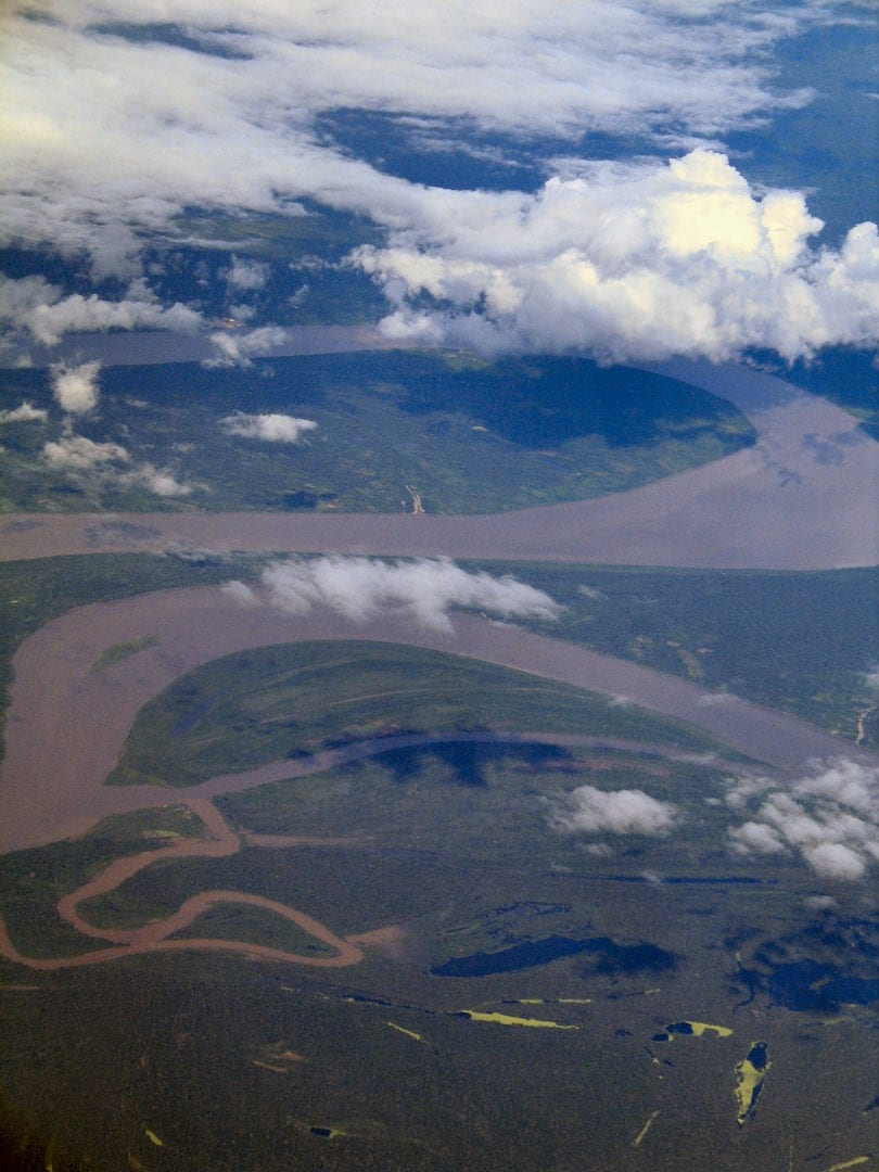 An aerial view of the Amazon River Basin