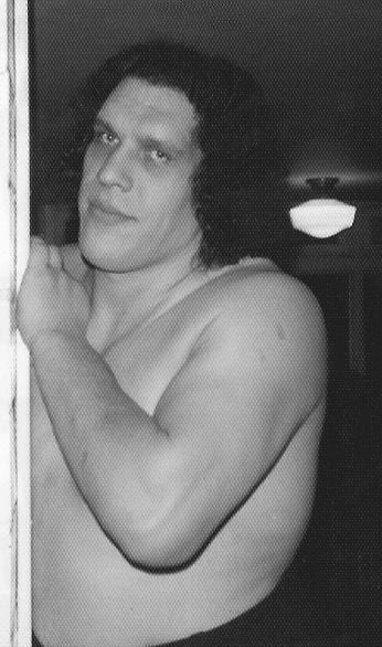 Andre The Giant outide his locker room