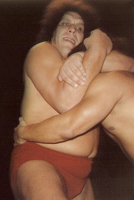 Andre The Giant with a bloody forehead