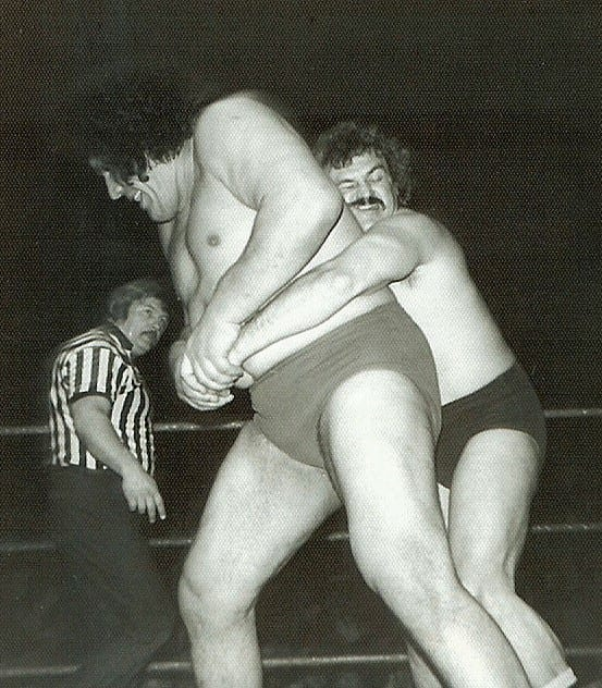 Andre The giant in a wrestling match