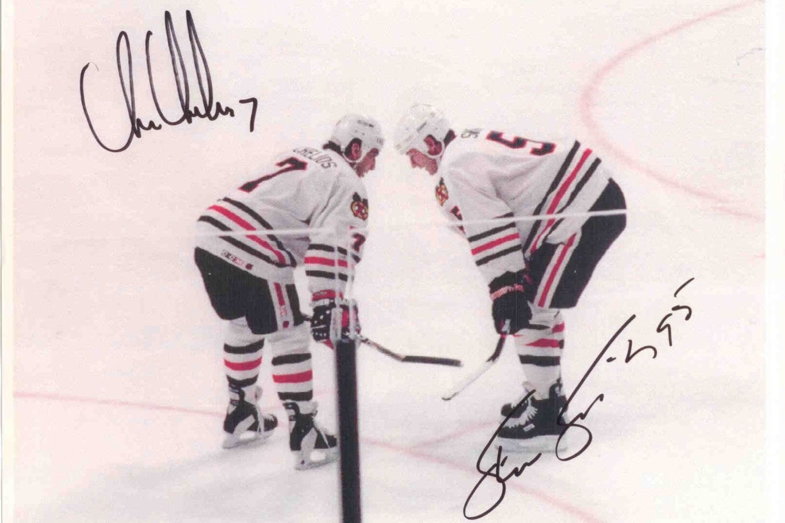 An autographed photo of Chris Chelios and Steve Smith