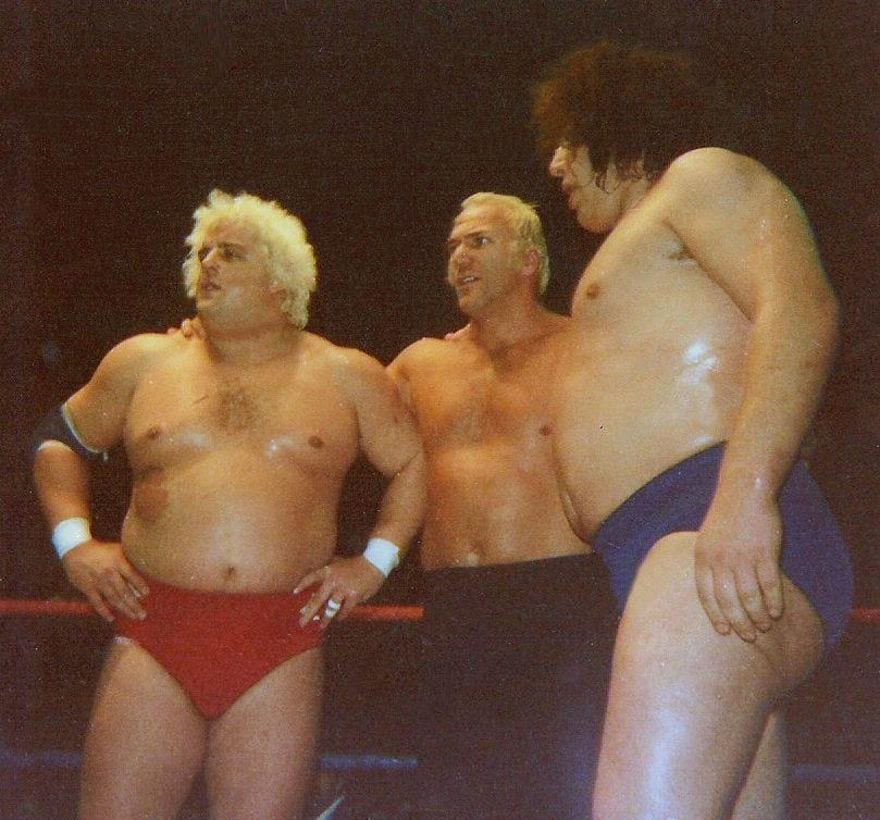 Three wrestling superstars