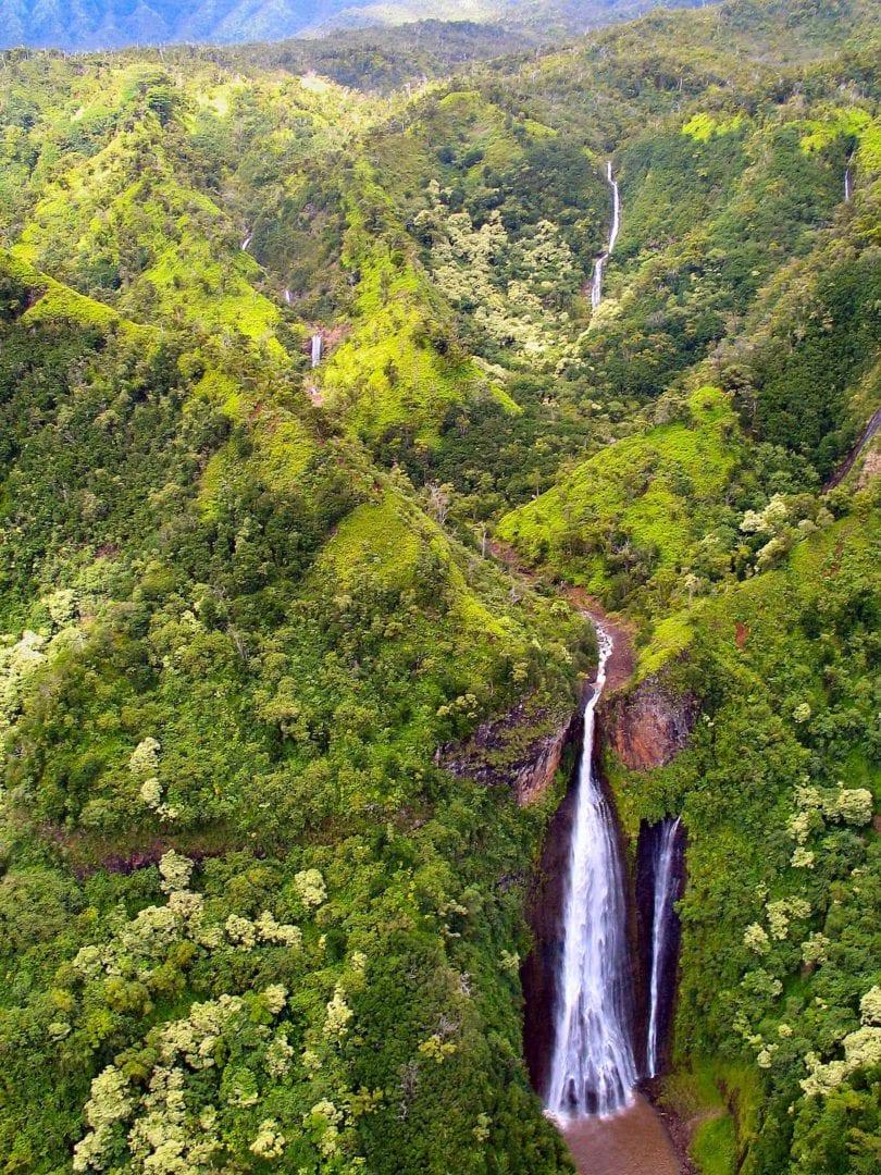 Wiamia Canyon waterfalls in Hawaii