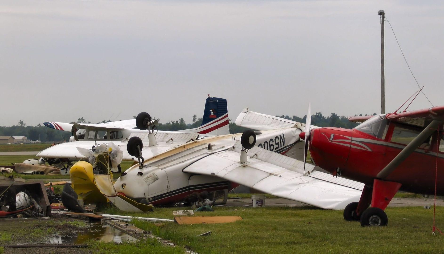 A crashed airplane