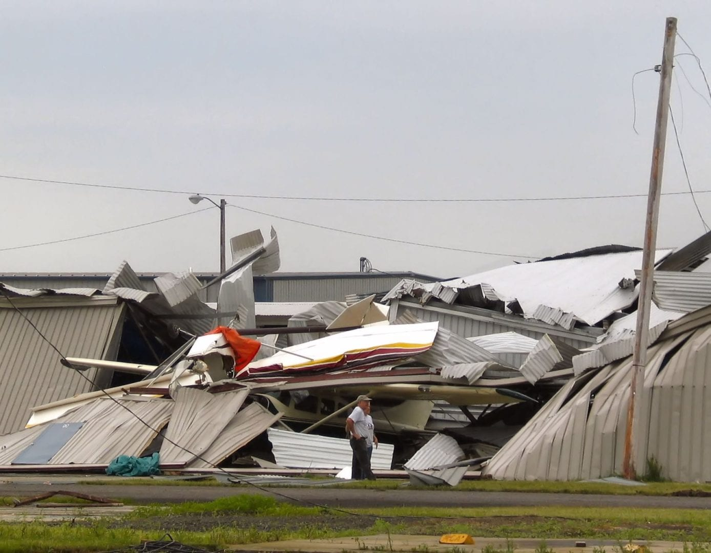 A ruined warehouse due to a tornado