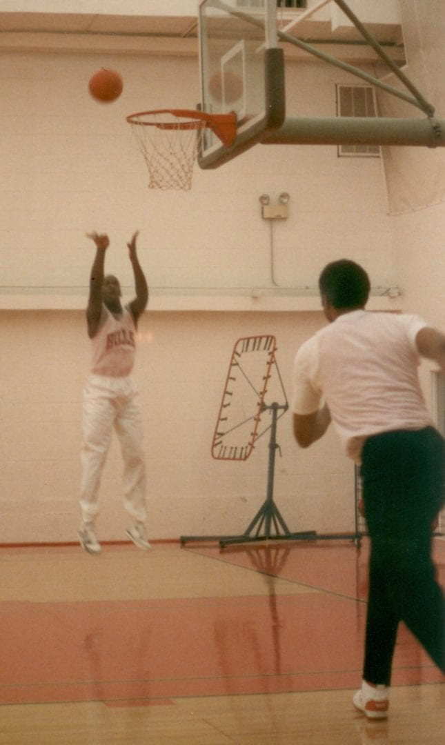 A jump shot of MJ during practice