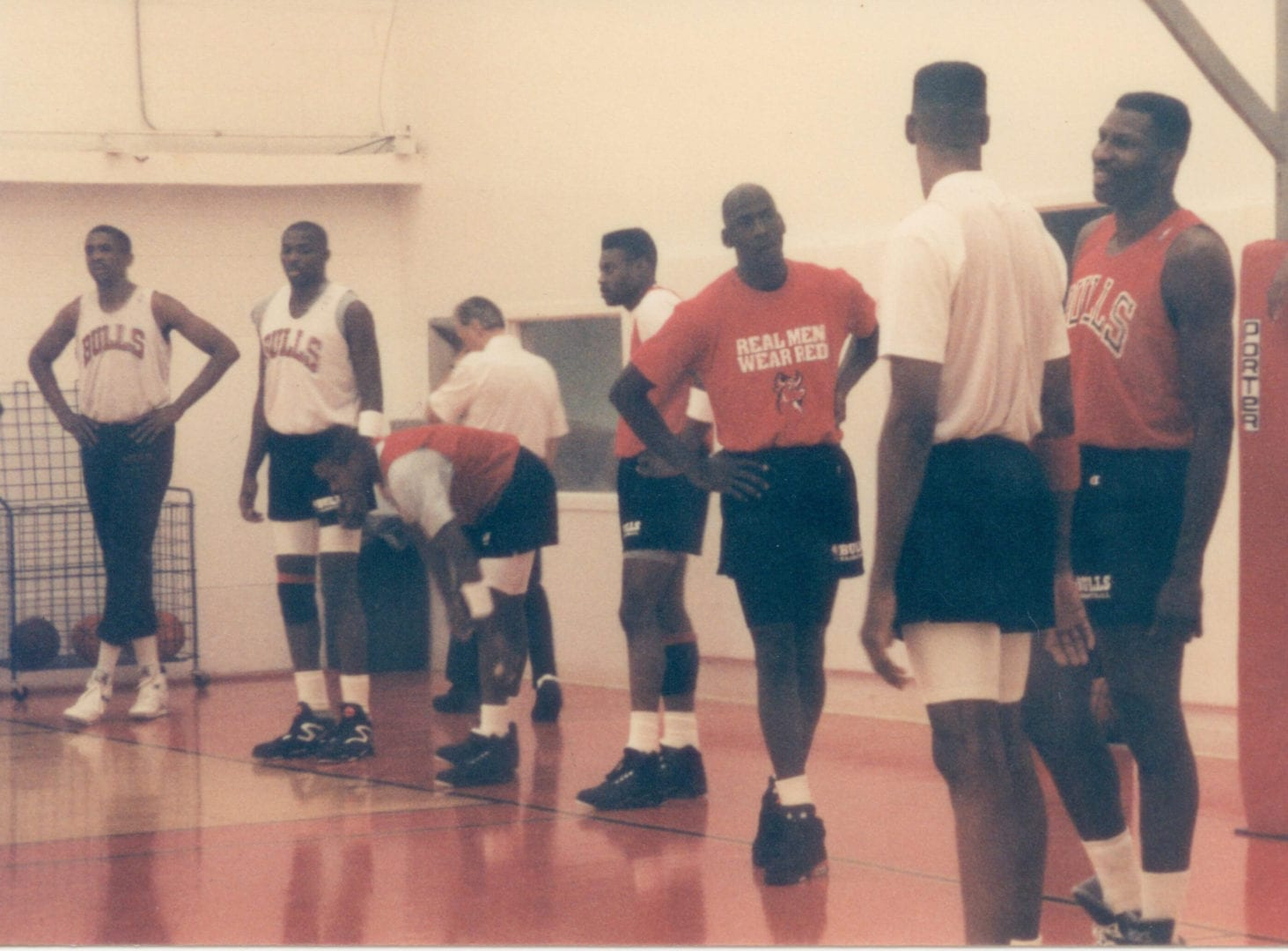 Bulls practice before the game