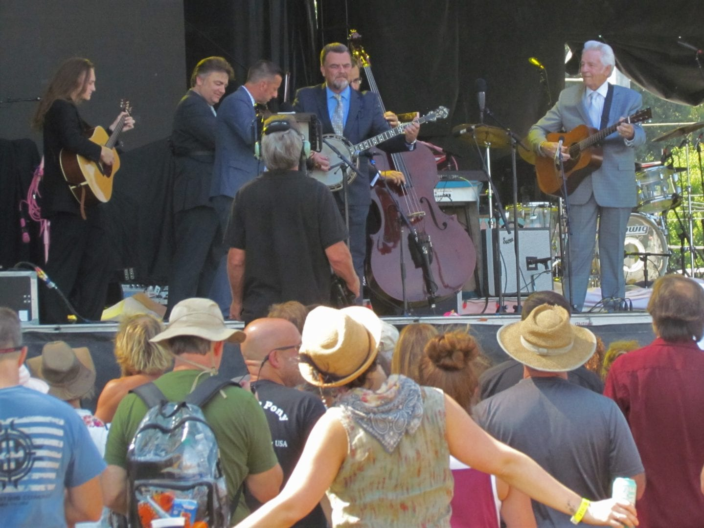 The McCoury band playing up on the stage
