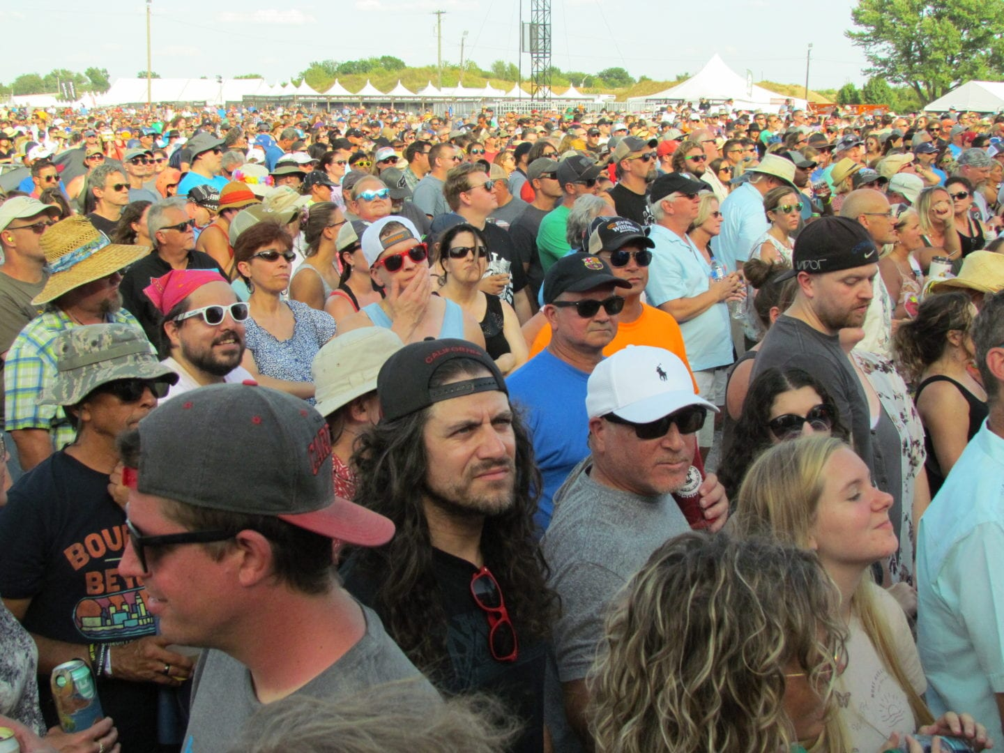 The crowds watching for the performance