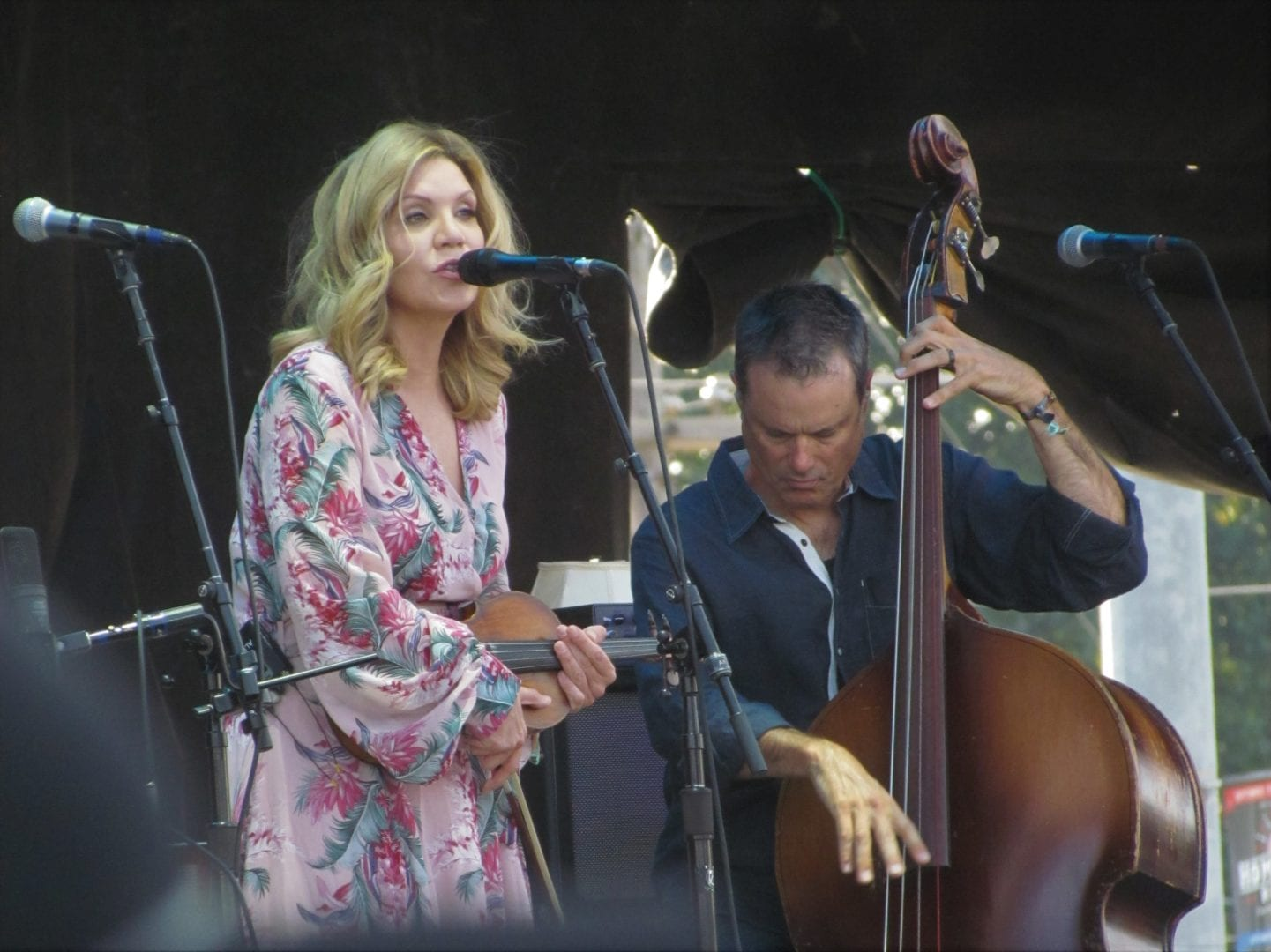 Alison Krauss singing while holding her violin