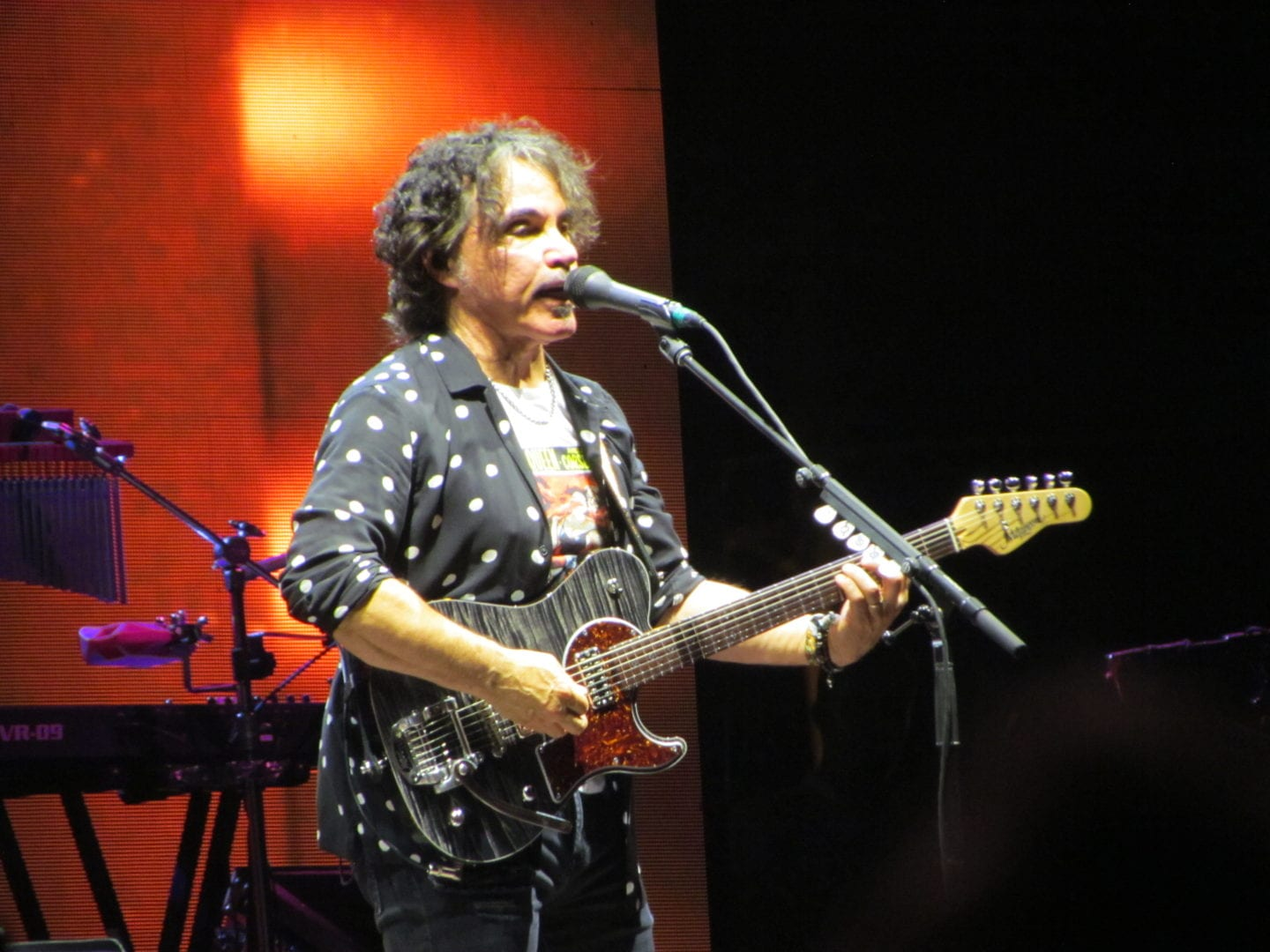 John Oates playing in front of a microphone