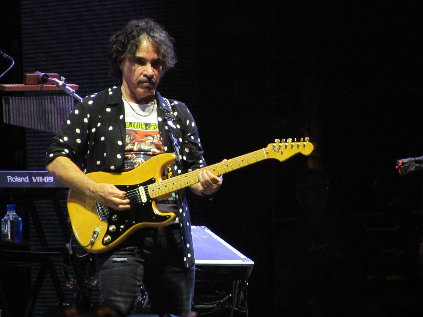 John Oates with his yellow electric guitar