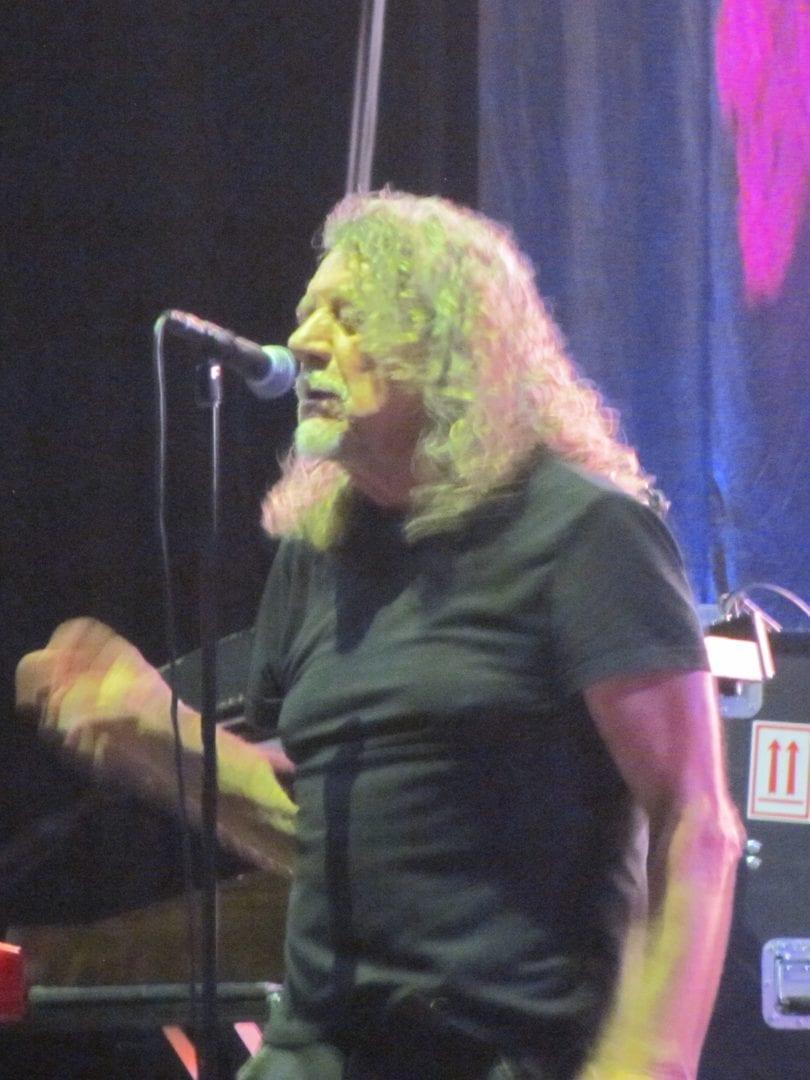 Robert Plant using a mic