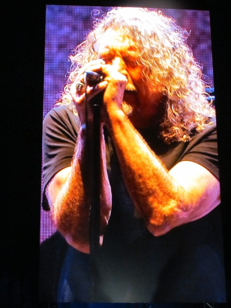 Robert Plant shown on screen