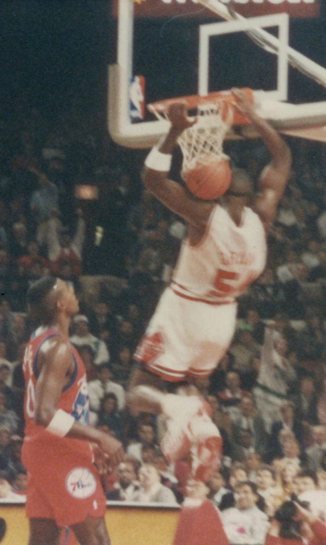 Horace Grant dunking the basket