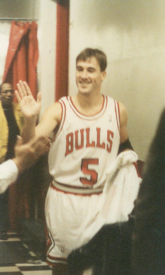A Bulls player doing a high-five