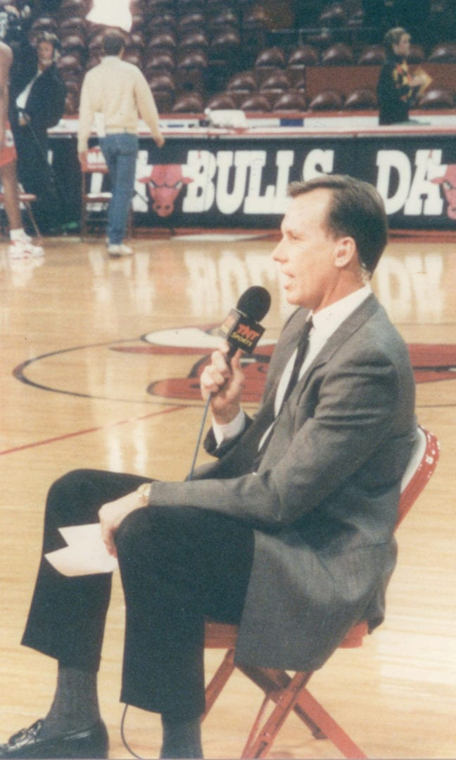 Doug Collins giving comments before the match