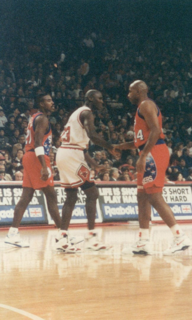 MJ and Charles Barkley before a tip off