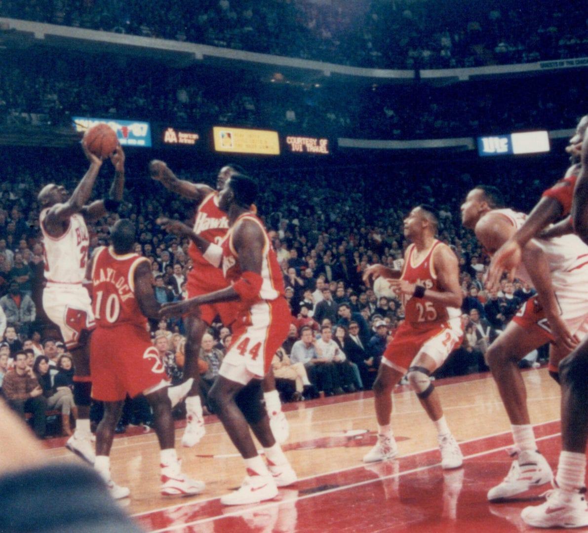 A jumpshot attempt of a basketball player