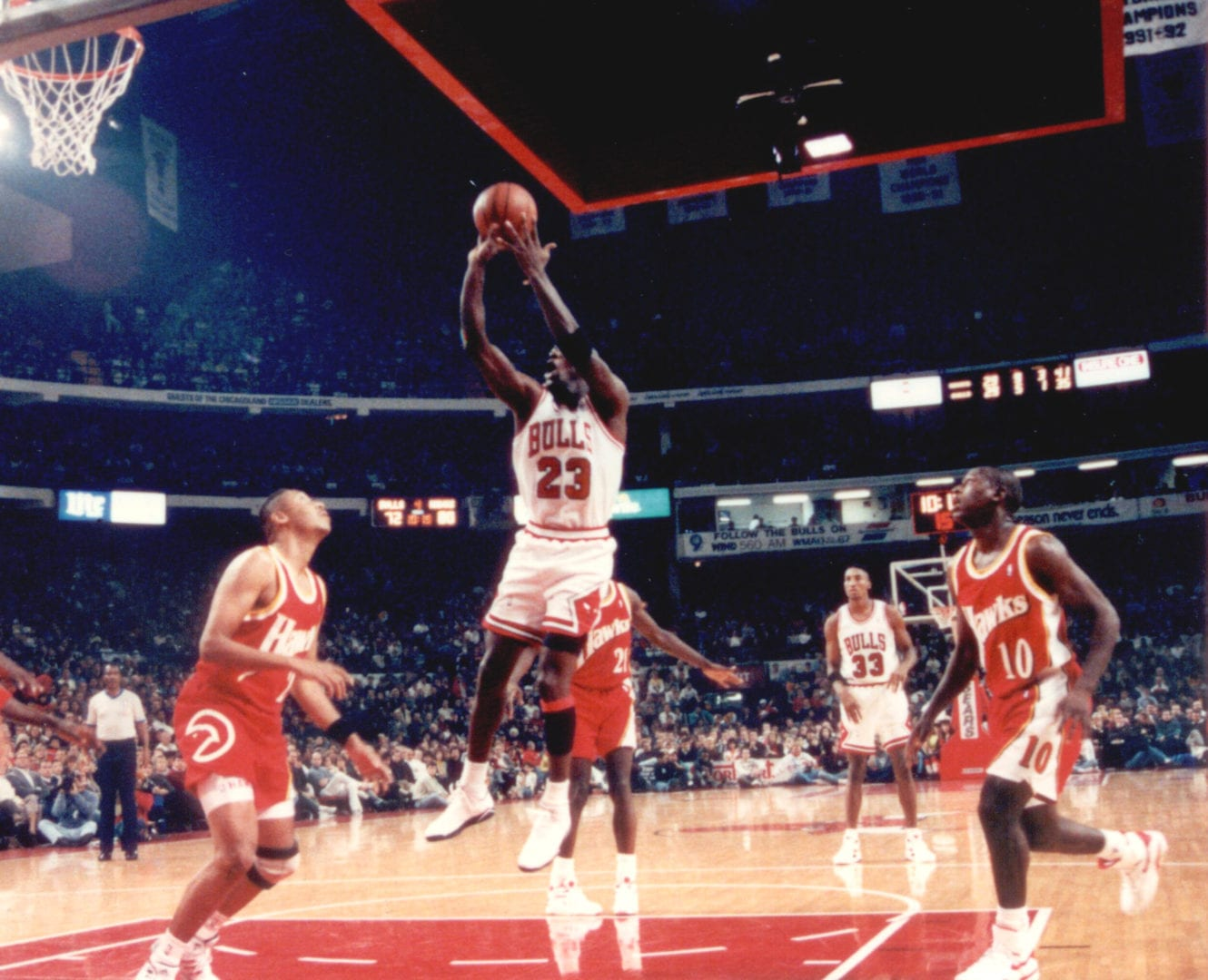 A late game jump shot by MJ