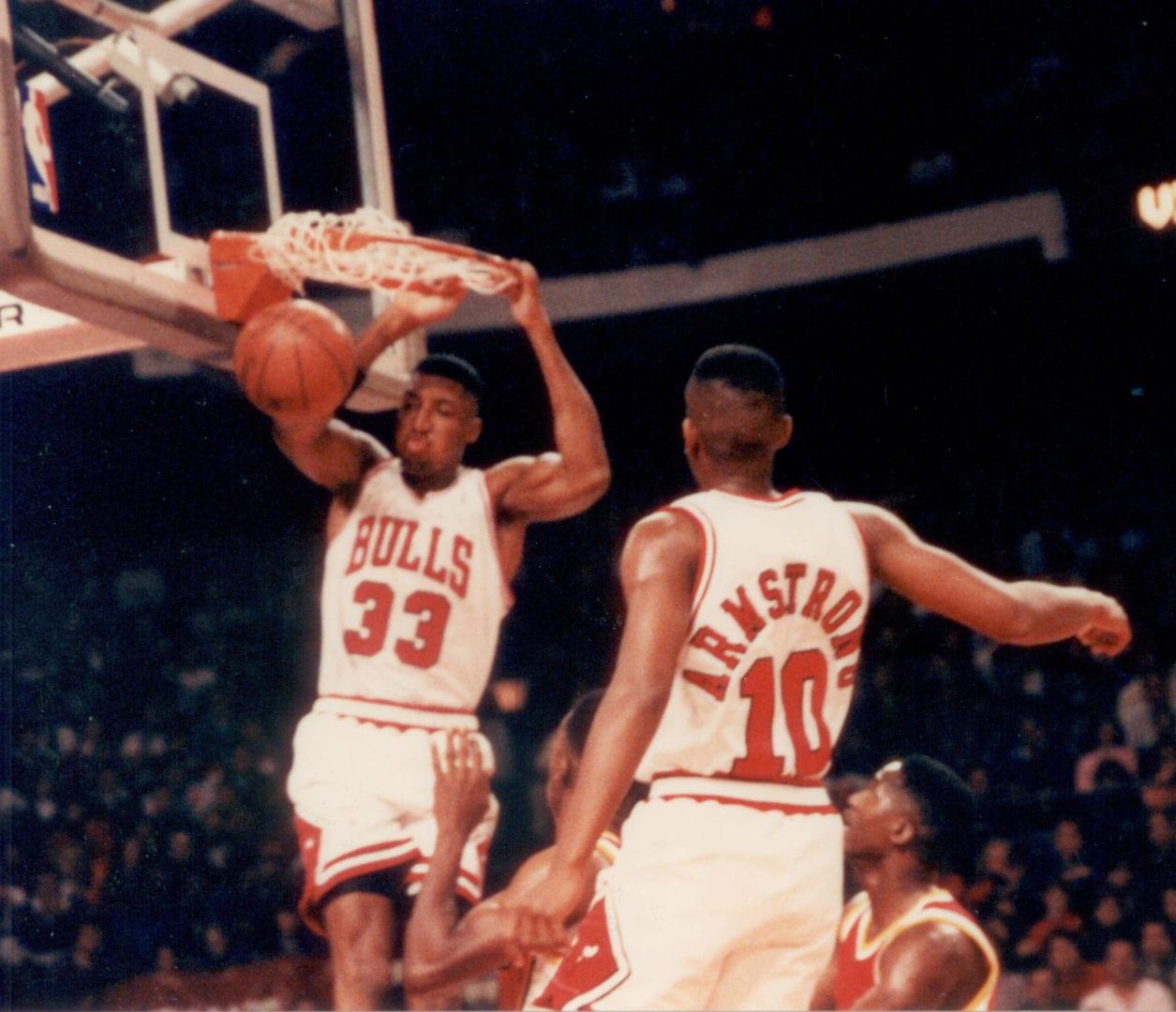 Scottie Pippen scoring from a dunk