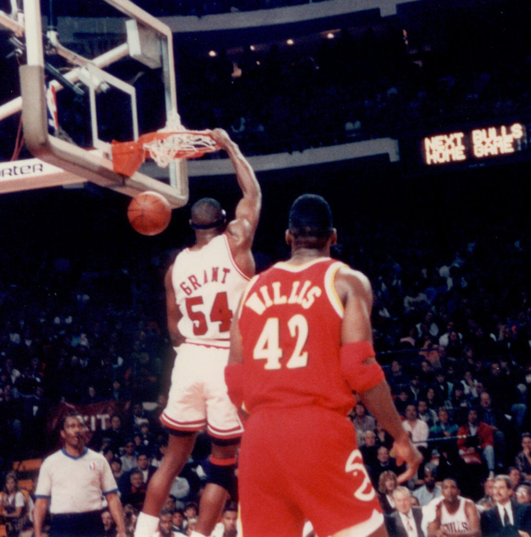 Horace Grant doing a successful dunk