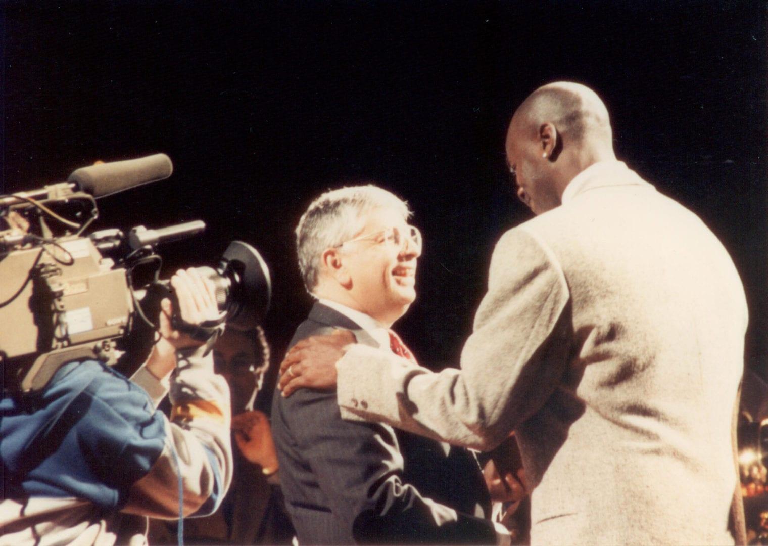David Stern greeting Michael Jordan