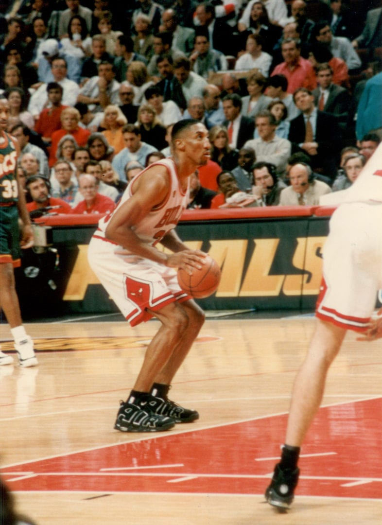 Scottie Pippen about to shoot a ball